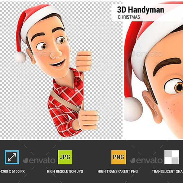 3D Handyman with Christmas Hat Peeping Over Wall