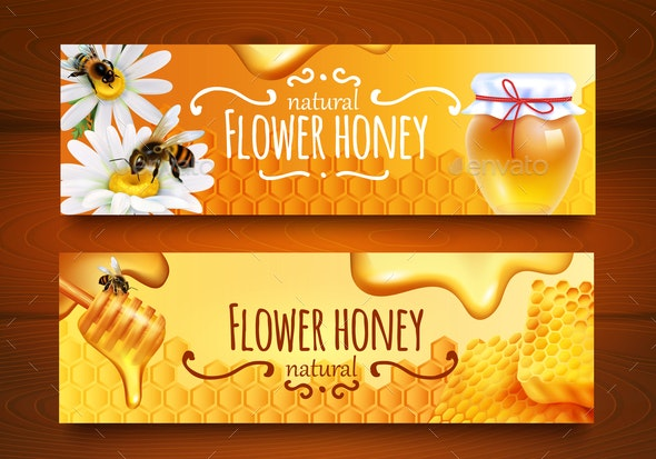 Realistic Honey Banners - Food Objects