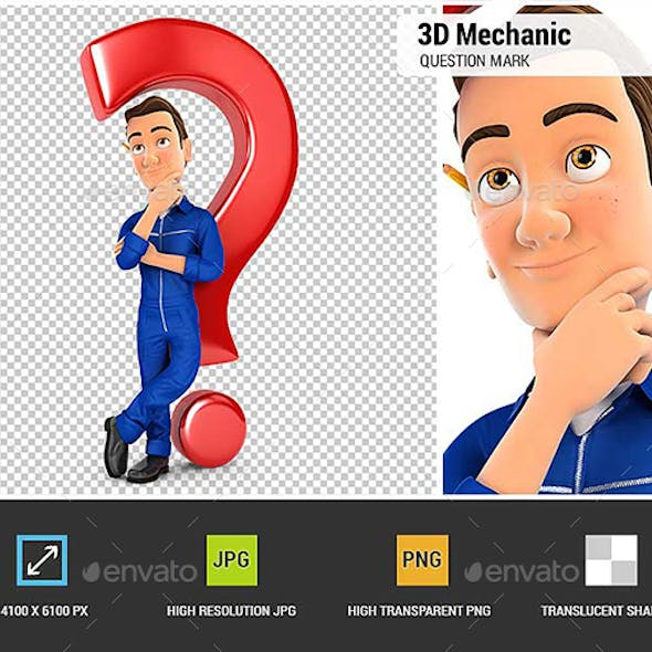 3D Mechanic Leaning Back Against Question Mark