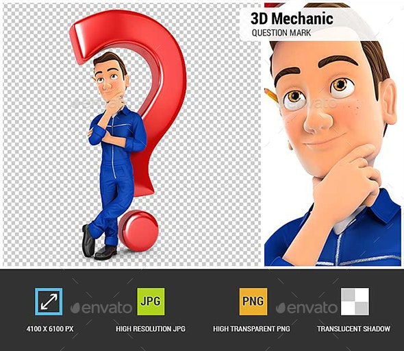 3D Mechanic Leaning Back Against Question Mark - Characters 3D Renders