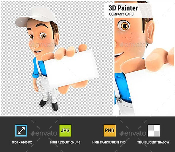 3D Painter Holding Company Card - Characters 3D Renders