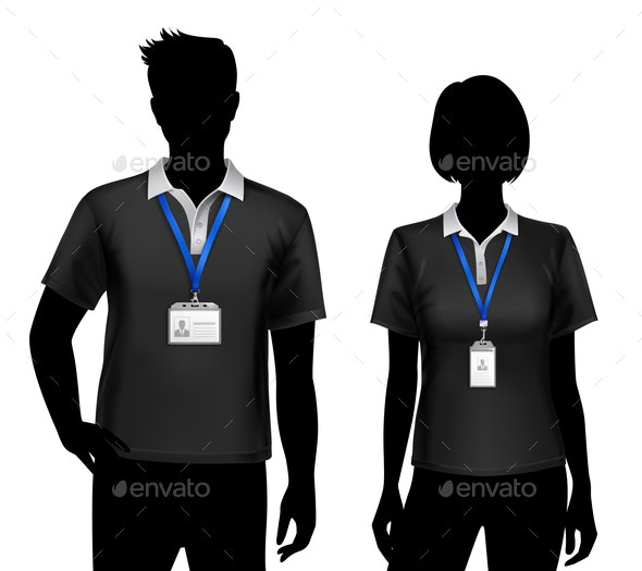 Employees Silhouettes ID Cards Badges - People Characters