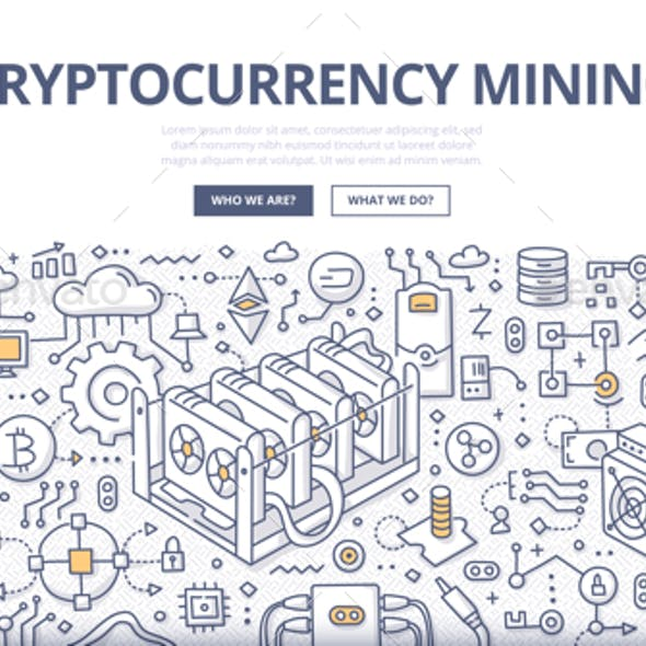 Cryptocurrency Mining Doodle Concept