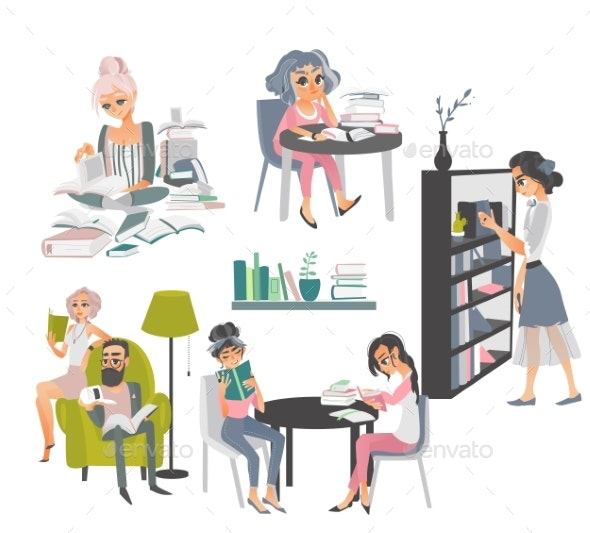 Set of People Reading Books in Library - People Characters