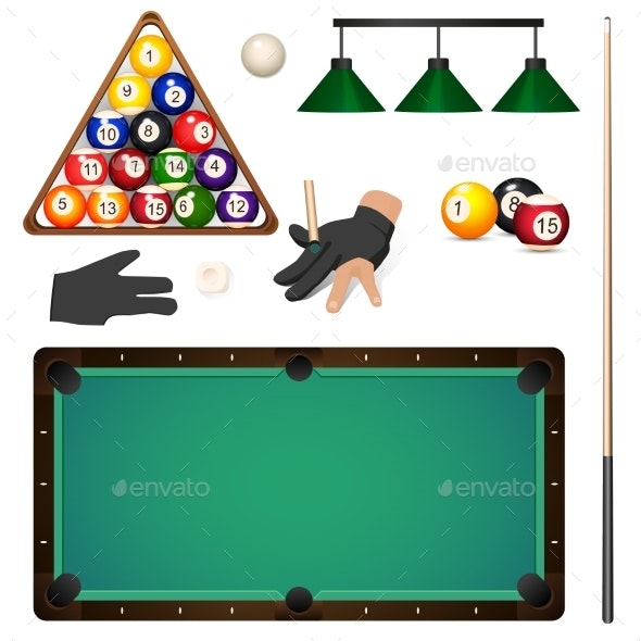 Set of Pool, Billiard, Snooker Game Objects - Sports/Activity Conceptual