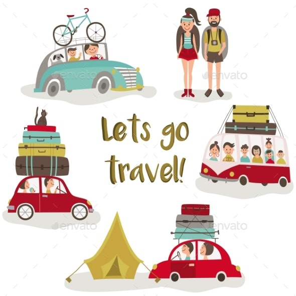 Road Trip Concept, Set of People Trvelling By Car - Man-made Objects Objects