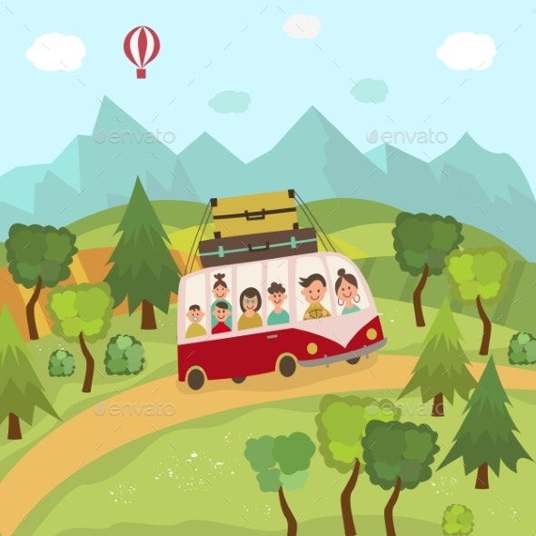 Family Travelling By Bus in Countryside, Fields - Nature Conceptual