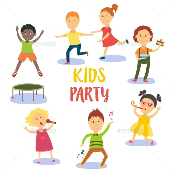 Set of Kids, Children Having Fun at Birthday Party - People Characters