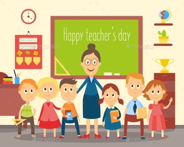 Teacher and Students, Pupils in the Classroom - People Characters