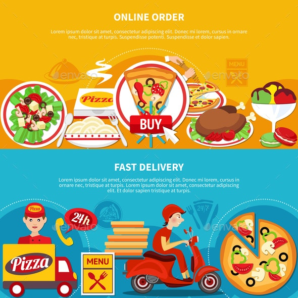Order Pizza Online Banners - People Characters