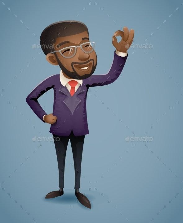 OK Hand Afro American African European Businessman - Business Conceptual