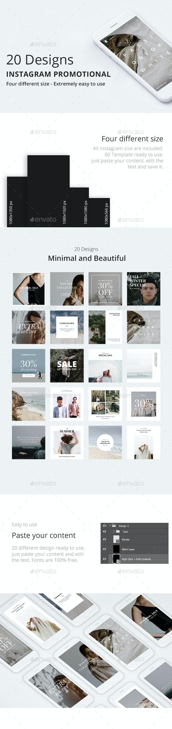 20 Instagram Promotional Template - Social Media Web Elements