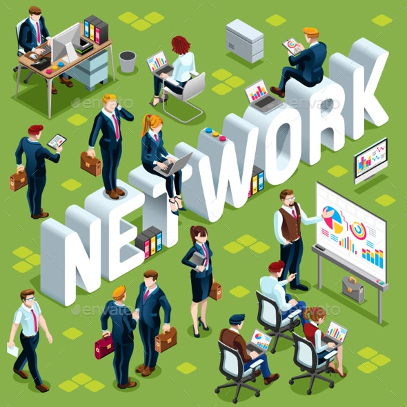 Network Isometric People Icon 3D Set Vector Illustration - Vectors