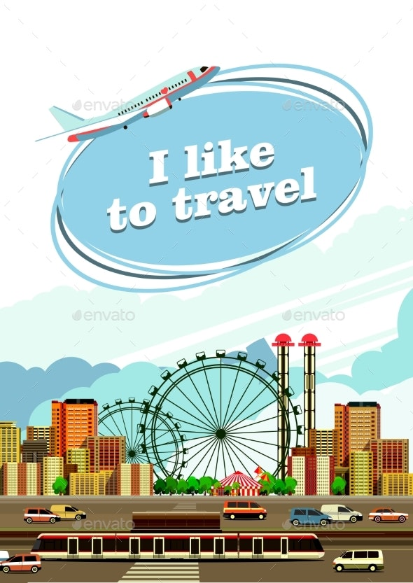 Travel By City Flyer - Abstract Conceptual