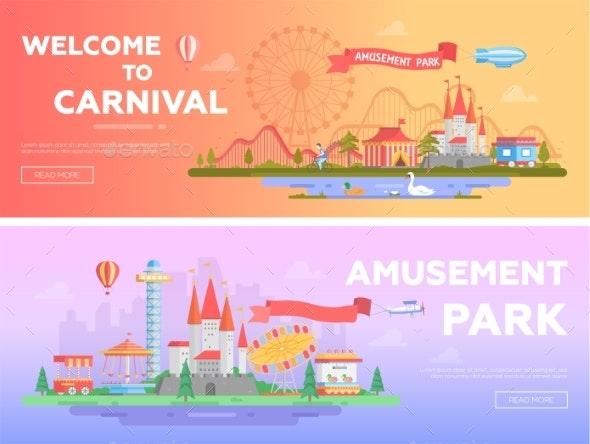 Amusement Park - Set of Modern Flat Vector - Web Elements Vectors