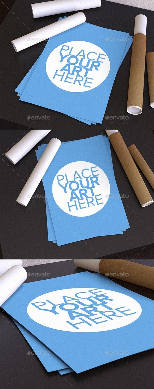 Desk Poster Mock-up - Product Mock-Ups Graphics