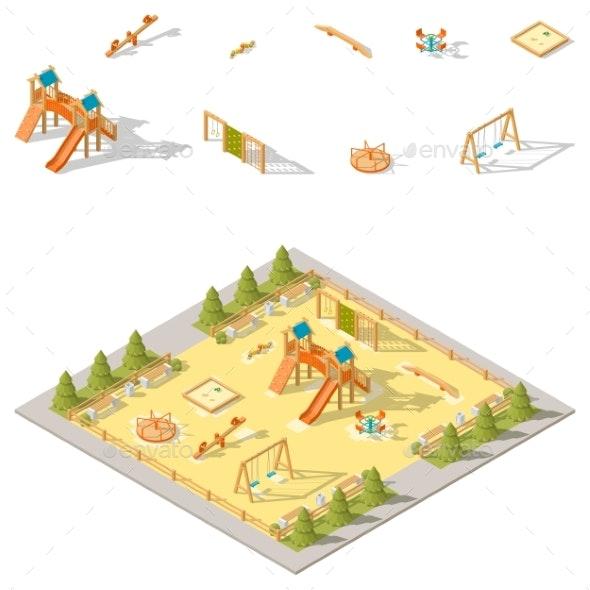 Children Playground Isometric Icon Set - Miscellaneous Vectors