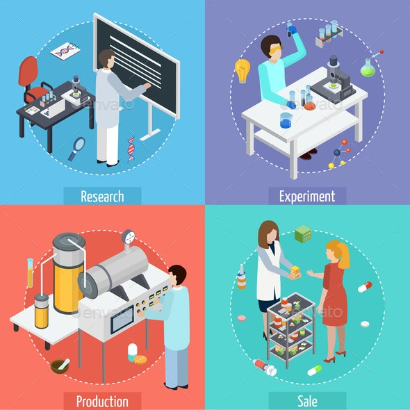 Pharmaceutical Production 4 Isometric Icons - Industries Business