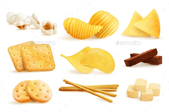 Salty Snack Pieces Set - Food Objects