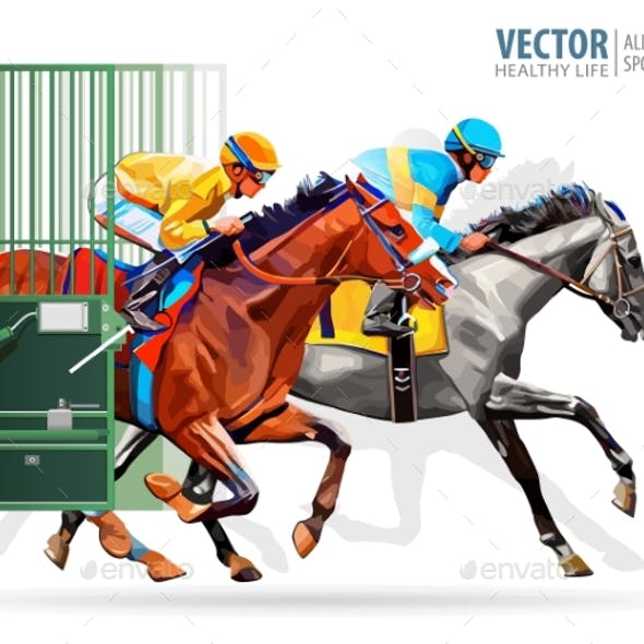 Three Racing Horses Competing with Each Other