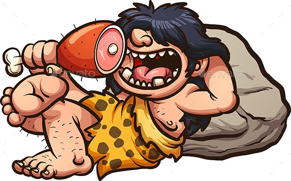 Caveman Eating - People Characters