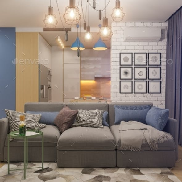 3d Illustration Living Room and Kitchen Interior