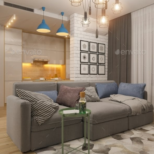 3d Illustration Living Room and Kitchen Interior