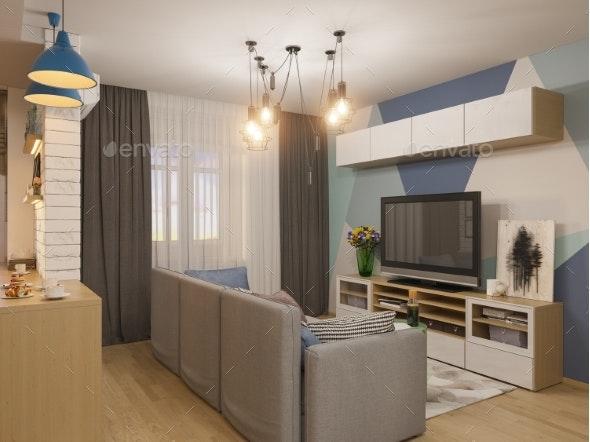 3d Illustration Living Room Interior Design - Miscellaneous Illustrations