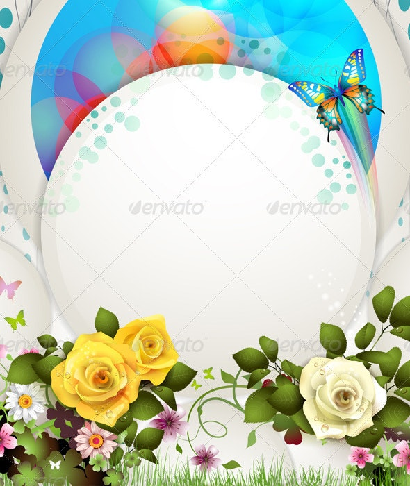 Background with Butterflies and Roses  - Backgrounds Decorative