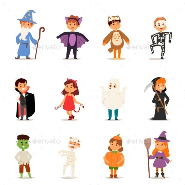 Kids Wearing Halloween Party Costumes Vector.
