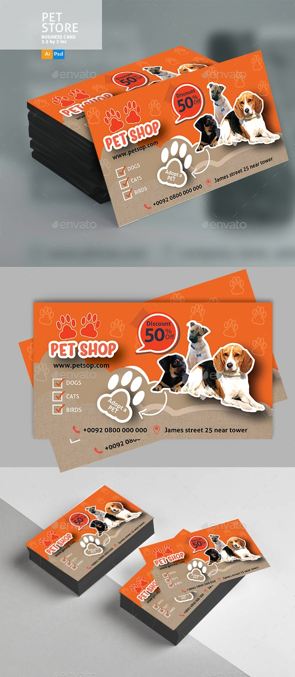 Pet Shop Business Card - Business Cards Print Templates