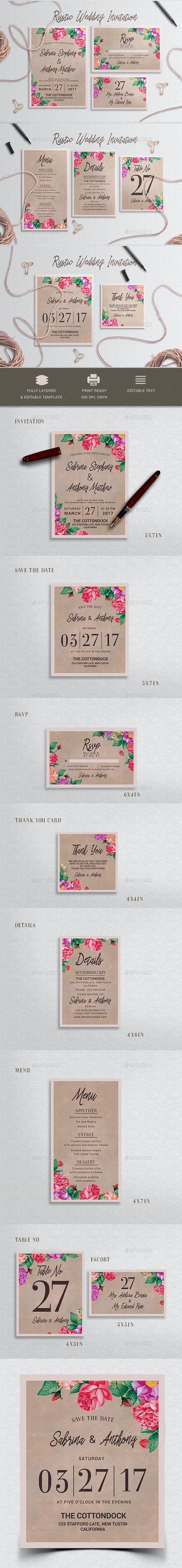 Rustic Wedding Invitation Set - Weddings Cards & Invites