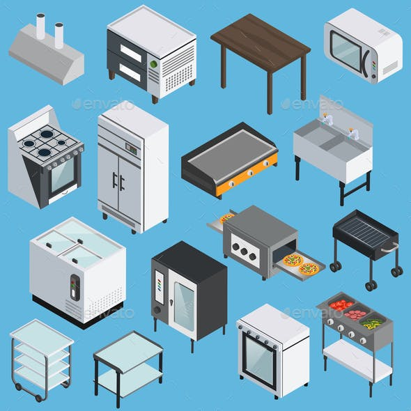 Kitchen Equipment Isometric Icons Set