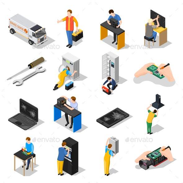 Service Centre Isometric Icons Set