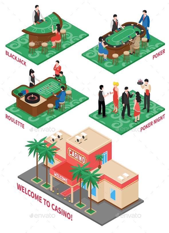 Casino Isometric Elements Set - Sports/Activity Conceptual
