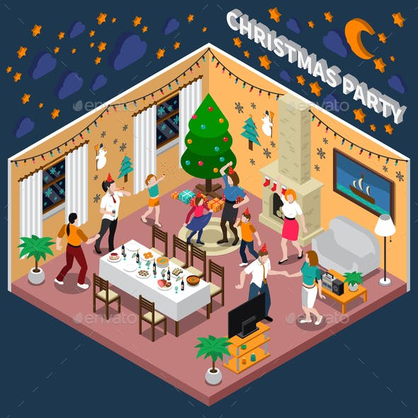 Christmas Party Isometric Composition