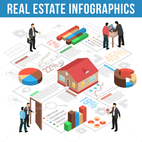 Real Estate Agency Isometric Infographics - Industries Business