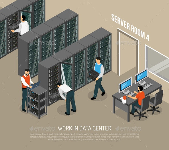 Work in Data Center Isometric Vector Illustration - Computers Technology