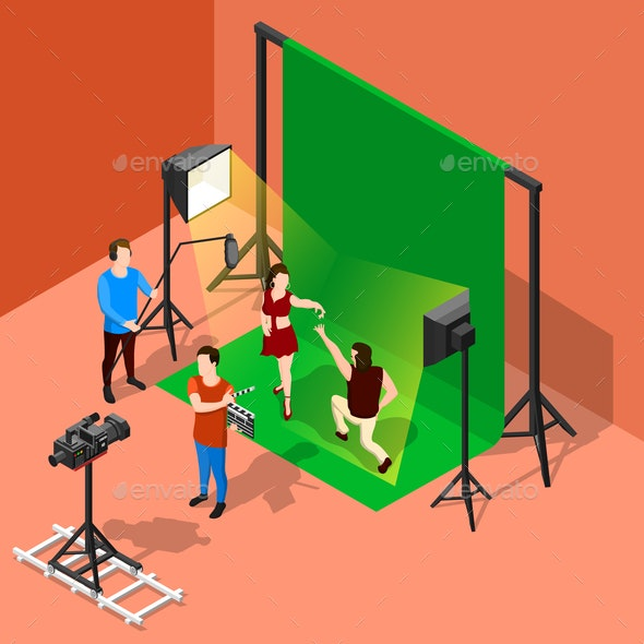 Chromakey Shooting Isometric Composition - Industries Business