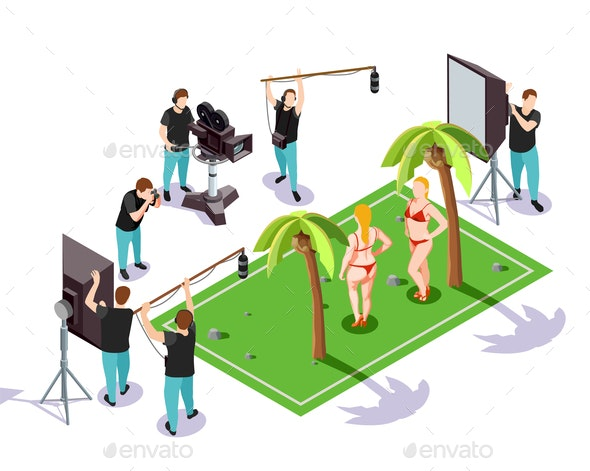 Cinematograph Isometric Composition - People Characters