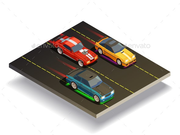 Race Track Cars Composition - Miscellaneous Vectors