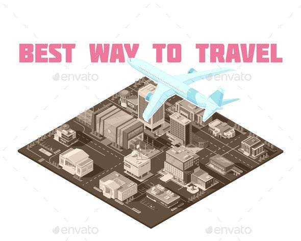 Air Travel Isometric Poster - Buildings Objects