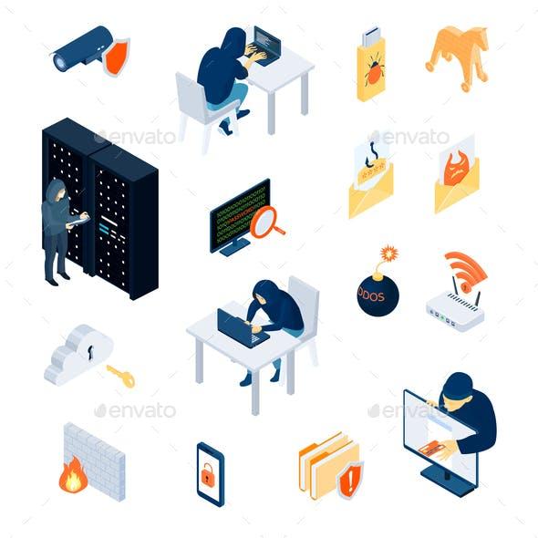 Hacker Isometric Icons Set