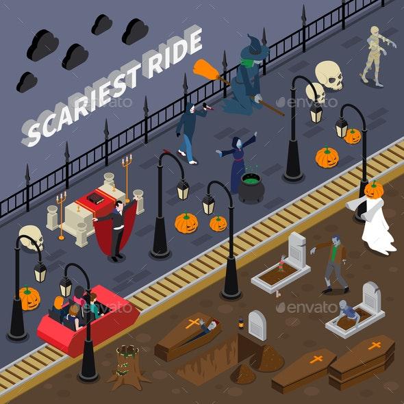 Monster Halloween Colored Composition - Halloween Seasons/Holidays