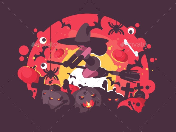 Witch on Broomstick Flies To Halloween - Miscellaneous Vectors