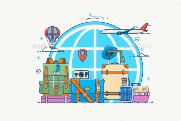 Illustration of Travel. Globe with Pin, Camera - Landscapes Nature