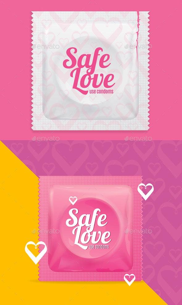 Realistic Condoms Package Safe Love Concept - Conceptual Vectors