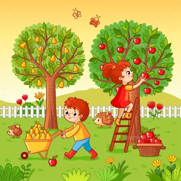 Boy and Girl Collect Fruit Harvest - Landscapes Nature