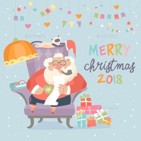 Santa Claus Sitting in Armchair and Reading Letter - Christmas Seasons/Holidays