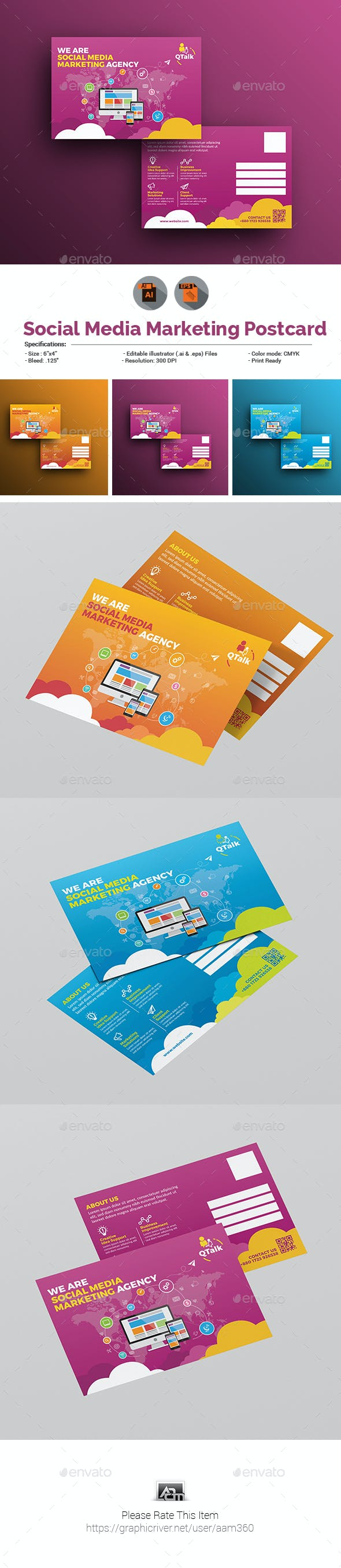Social Media Marketing Postcard Template By Aam360 Graphicriver
